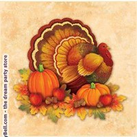 Thanksgiving Scroll Beverage Napkins - Multi-colored