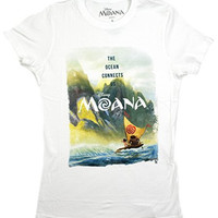 Disney Moana Scene Ocean Connects Us Juniors T-shirt