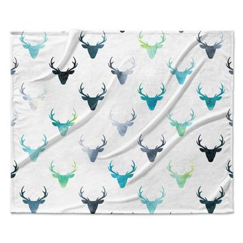Watercolor Deer Antlers Rainbow Color Baby Childrens Fleece Blanket