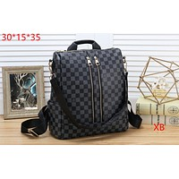 LV tide brand fashion hit color female models vertical zipper versatile shoulder bag black check
