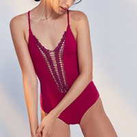 Billabong X UO Hippie Hooray Maroon One-Piece Swimsuit | Urban Outfitters