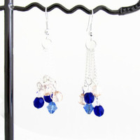 Blue long dangle earrings, royal blue and peach crystal bead chain dangle earrings, silver plated lead and nickel free UK seller