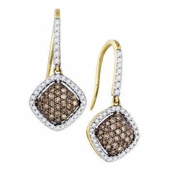 10kt Yellow Gold Women's Round Cognac-brown Color Enhanced Diamond Square Dangle Earrings 5-8 Cttw - FREE Shipping (US/CAN)