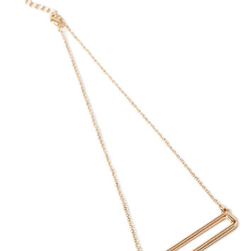 Cutout Rectangle Pendant Necklace