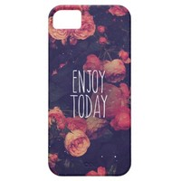 "Cool Girly Pink Roses Vintage ""Enjoy Today"" Photo iPhone 5 Covers"