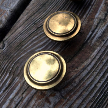 Vintage Salvaged Solid Brass Weathered Naturally Antiqued Ringed Knobs / Drawer Pulls /Furniture Hardware by Keeler Brass Co