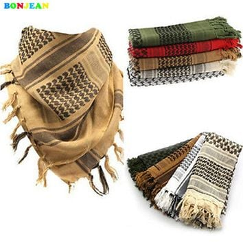 BONJEAN Cotton Thick Muslim Hijab Shemagh Tactical Desert Arabic Scarf Arab Scarves Men Winter Military Windproof Scarf