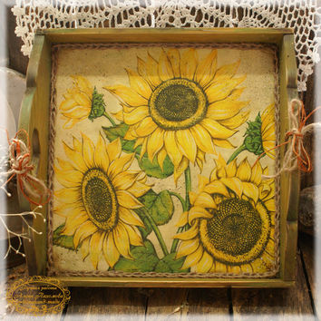 "Vintage look Wood Serving Tray , Wooden tray  ""Sunflowers"" ,serving tray ,wood serving tray"