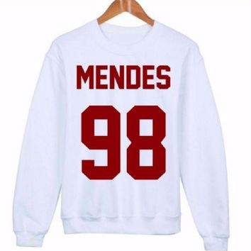 PEAPJ1A MENDES 98 red word [front] fashion women's English sweater