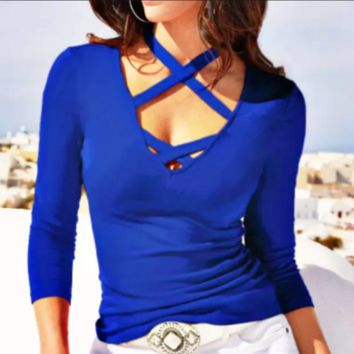 Autumn and winter new women's hanging neck V-neck long-sleeved T-shirt top