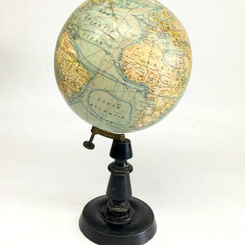 Terrestrial Globe, Antique French Globe, Antique World Globe, Vintage Terrestrial Globe, Antique Globe, Vintage Globe, Made in France Forest