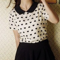New Women's Sweet Chiffon Hearts Blouse Round Collar Short Sleeve TOP Tee Shirt