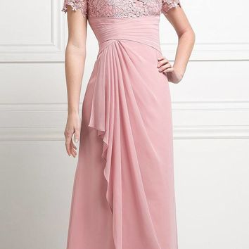 Rose Appliqued Long Formal Dress with Drapes