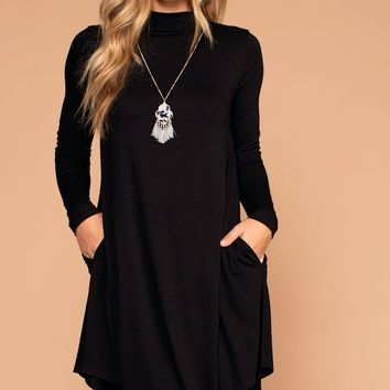 Randi Black Swing Pocket Dress
