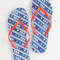 Navy USA Stripes Flip Flops
