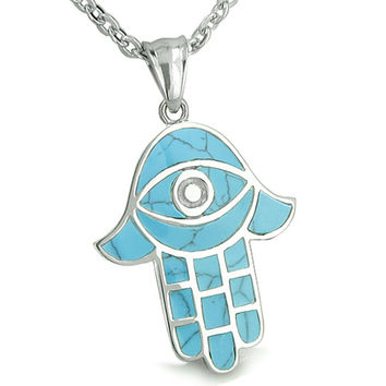 Amulet Hamsa Hand Evil Eye Reflection Simulated Turquoise Protection Energy Pendant 22 Inch Necklace
