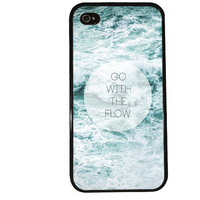 Go With the FLOW iPhone Case / Ocean Quote iPhone 4 Case iPhone 5 Case River iPhone 4S Case iPhone 5S Case Cute Quote Phone Case