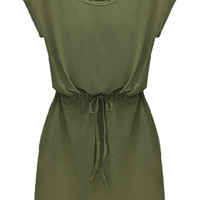 Green Short Sleeve Drawstring Slim Dress -SheIn(Sheinside)