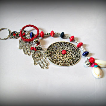 Bohemian key chain,boho key ring,gypsy key ring,hamsa key chain,long key ring