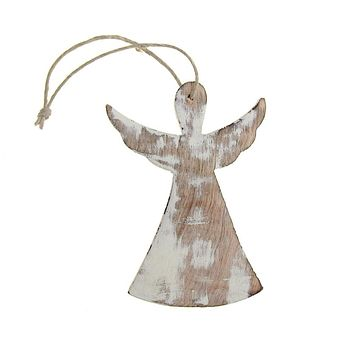 Hanging Wooden Angel with Wings Christmas Ornament, White, 4-Inch