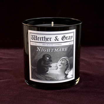 NIGHTMARE Candle, 9oz Black Tumbler, Dark Series, Werther + Gray, Goth Gothic Vintage Victorian Style, Soy Blend, Scented Candle