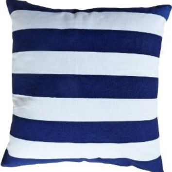 Decorative Printed Stripes Throw Pillow Cover 18 Navy