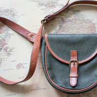 Green Leather Purse pebbled vintage mini crossbody bag forest woodland small