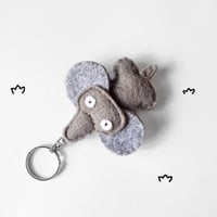 Elephant keychain plush, cute felt stuffed elephant figurine, animal keyring, women accessory and gift idea