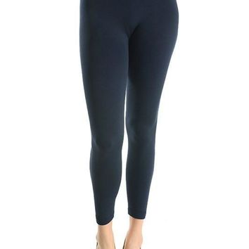 Curvy Navy Fleece Lined Leggings