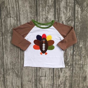 thanksgiving day baby boys children clothes boutique outfits top t-shirts raglans bright brown turkey print cotton O-neck new