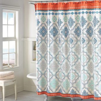 Henna Shower Curtain in Blue