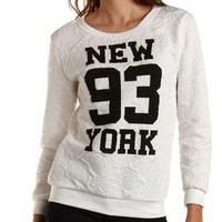 Rose-Quilted New York Graphic Sweatshirt - Ivory Combo