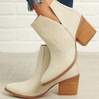 Rebellious Woman Not Rated Ankle Booties (Cream)