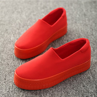 2017 new muffin heavy-bottomed shallow mouth of canvas shoes women shoes casual shoes a pedal student flat bottom shoes w343