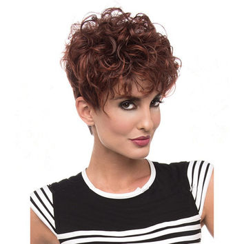 Kanekalon Fiber  Synthetic Wig African American Short Wigs For Black Women Brownish Red Curl Female Wig   +Free Wig Cap