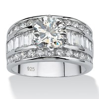 4.65 TCW Round Cubic Zirconia Platinum over Sterling Silver Engagement Anniversary Ring