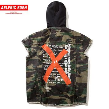 Aelfric Eden Men Vests Military Biker Sleeveless Jacket Camoufalge Big Letter X Print Denim Jean Hooded Jackets Waistcoats KJ01