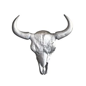 The Mini Yellowstone Skull | Buffalo Bison Skull | Faux Taxidermy | Silver Horns Resin