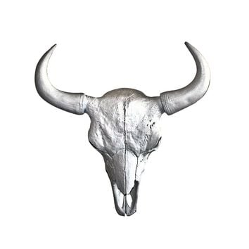 The Large Yellowstone Skull | Buffalo Bison Skull | Faux Taxidermy | Silver Horns Resin