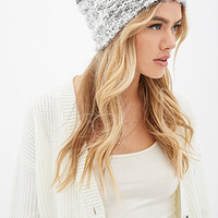 FOREVER 21 Fuzzy Knit Beanie Grey/White One
