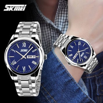 2015 Men's Fashion Quartz Wrist Watch Classic Business Casual Steel Watch (White , Blue , Black , Silver)