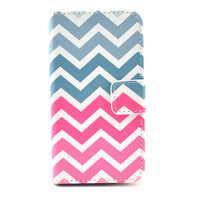 Chevron Leather Wallet Case Cover