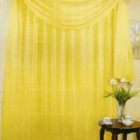"SET OF 2, 84"" LONG BRIGHT YELLOW SHEER VOILE CURTAINS / TAILORED CURTAIN PANELS, 60"" WIDE"
