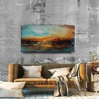 Oil Painting Autumn,Large Landscape Painting on Canvas, Colorful Palette Knife Painting, Large Abstract Wall Art, Canvas Wall Art 24 x 48