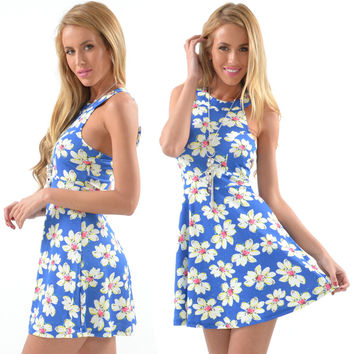 Floral Sleeveless Sheath A-line Mini Dress