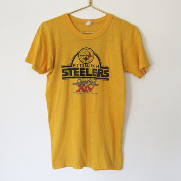 Authentic Vintage 1980 Pittsburgh Steelers Super Bowl XIV T-shirt / Yellow Unisex Tee