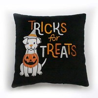Celebrate Halloween Together Tricks For Treats Dog Throw Pillow