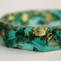 Emerald green with gold flakes eco resin faceted by RosellaResin