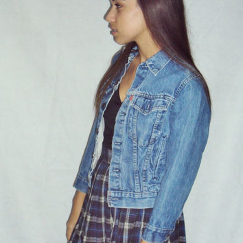 70s Levi's Denim Jacket / Faded Worn Distressed / Skinny Jacket / Cropped Jacket / Grunge Jacket /