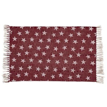 Multi Star Red Cotton Rug Rect 20x30
